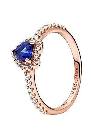 PANDORA Błyszczące niebieskie wypukłe serce pierścionek 14 karatów stop metalu pozłacany różowym złotem 50