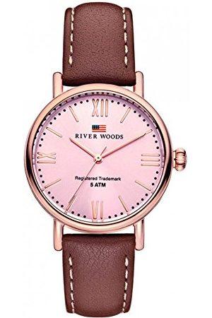 River Woods Damski zegarek na rękę skóra Wisconsin Taśma Braun/Rose