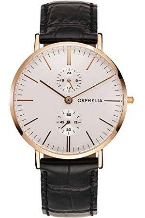 ORPHELIA Męski zegarek na rękę Gentle analogowy kwarcowy skóra Pasek (Rosegold)