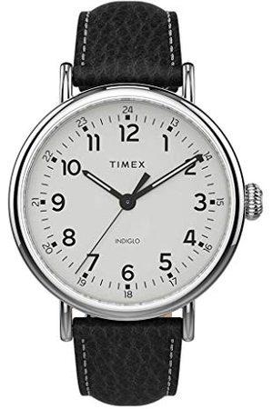 Timex Męski zegarek analogowy standardowy XL ze skórzanym paskiem pasek /