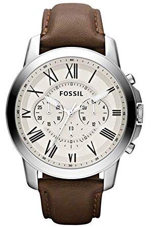 Fossil Męski chronograf kwarcowy zegarek ze skórzanym paskiem FS4735IE