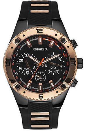 ORPHELIA Męski zegarek na rękę Boulder Country Multi Dial kwarcowy silikon bransoletka Schwarz/Rosegold