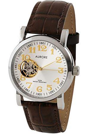 AURORE Unisex dorosły analogowy automatyczny zegarek ze skórzanym paskiem AA001