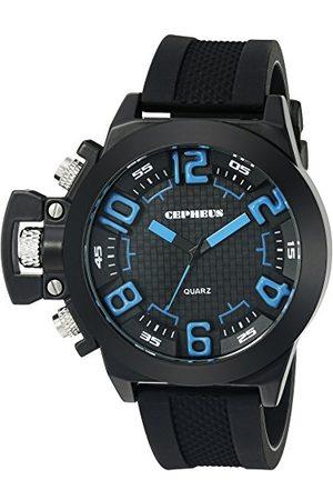 CEPHEUS Męski zegarek kwarcowy z czarnym wyświetlaczem analogowym i czarnym silikonowym paskiem CP901-622B