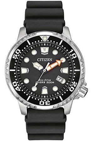 Citizen Męski Promaster nurek zegarek zasilany energią słoneczną z czarnym wyświetlaczem analogowym i czarnym gumowym paskiem BN0150-28E