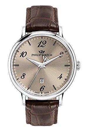 Philip Watch Męski analogowy zegarek kwarcowy ze skórzanym paskiem R8251595004