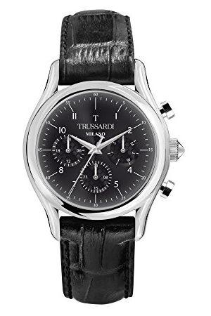Trussardi Męski Multi tarcza kwarcowy zegarek ze skórzanym paskiem R2451127007