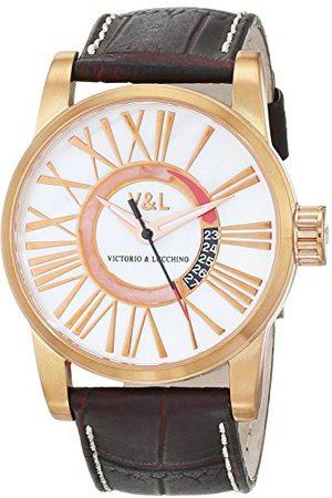 VL92 V&L męski data klasyczny kwarcowy zegarek ze skórzanym paskiem VL068502