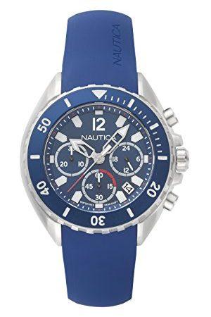 Nautica Męski zegarek kwarcowy z żywicy silikonowej pasek Navy/Silver