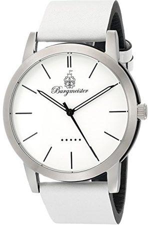 Burgmeister Ibiza męski zegarek kwarcowy z białym wyświetlaczem analogowym i białym skórzanym paskiem BM523-186-1