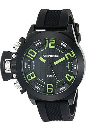 CEPHEUS Męski zegarek kwarcowy z czarnym wyświetlaczem analogowym i czarnym silikonowym paskiem CP901-622D