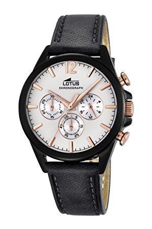 Lotus Męski zegarek kwarcowy z białym wyświetlaczem chronografu i czarnym skórzanym paskiem 18199/1