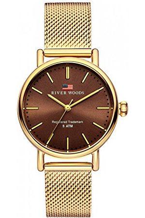 River Woods Damski zegarek ze stali nierdzewnej Oswego Bransoletka Gold/Brown