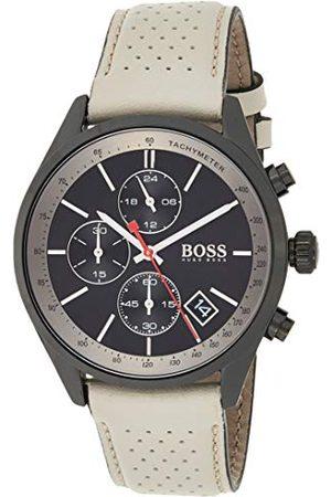 HUGO BOSS Chronograf kwarcowy zegarek na rękę ze skórzanym paskiem