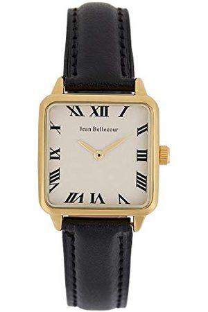 Jean Bellecour Męski zegarek na rękę, kwarcowy, biały cyferblat, 28 x 28 mm, czarny pasek ze skóry JB1103