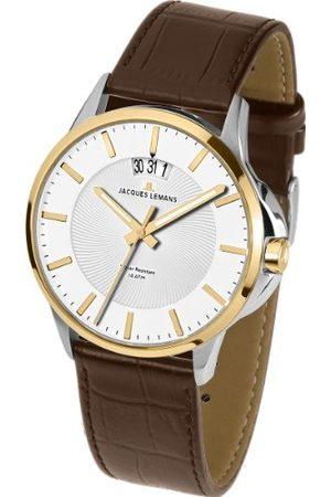 Jacques Lemans Męski analogowy zegarek kwarcowy ze skórzanym paskiem 1-1540H
