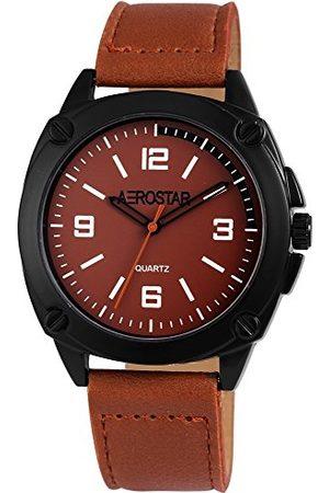 Aerostar Męski analogowy zegarek kwarcowy z imitacją skóry pasek 21107100008