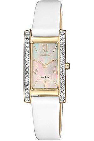 Citizen Damski analogowy prostokątny Eco-Drive zegarek ze skórzaną bransoletką biały cyferblat z masy perłowej EX1478-17D