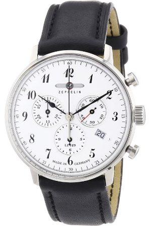 Zeppelin Męski zegarek kwarcowy z białym wyświetlaczem analogowym i czarnym skórzanym paskiem 70861