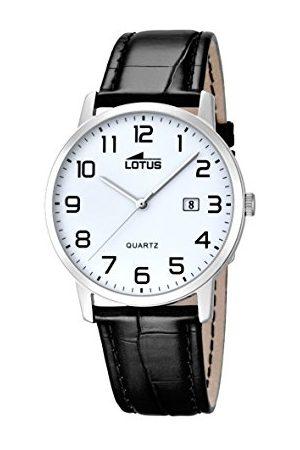 Lotus Lotos męski zegarek kwarcowy z białym wyświetlaczem analogowym i czarnym skórzanym paskiem 18239/1