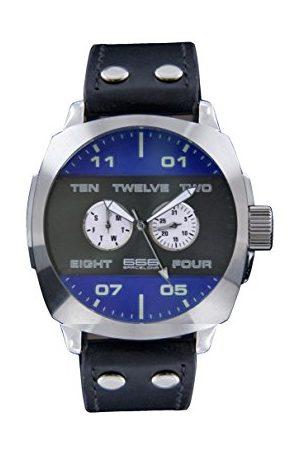 666Barcelona Męski analogowy zegarek kwarcowy ze skórzanym paskiem 66-253