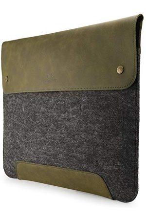 MegaGear Pokrowiec na MacBook z prawdziwej skóry i polaru 15 & 16 cali - oliwkowy