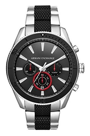 Armani Męski chronograf zegarek kwarcowy bransoletka jeden rozmiar 2t Gray/Black