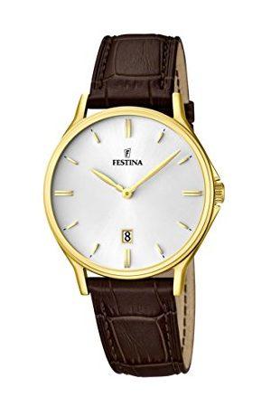Festina Męski zegarek kwarcowy z białym wyświetlaczem analogowym i brązowym skórzanym paskiem F16747/1