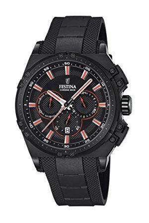 Festina CHRONO BIKE 2016 męski zegarek kwarcowy z czarną tarczą chronografem i czarnym gumowym paskiem F16971/4