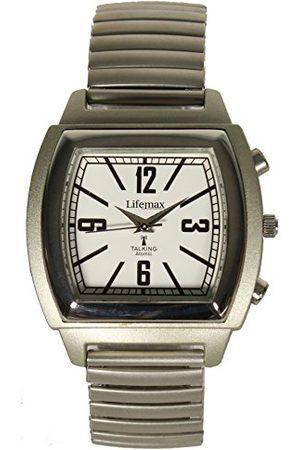 Lifemax Vintage Talking Atomic zegarek kwarcowy uniseks z białym wyświetlaczem analogowym i srebrną bransoletką ze stali nierdzewnej 1439E