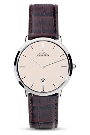 Michel Herbelin Unisex Dorośli Analogowy zegarek ze skórzanym paskiem 19515/17MA