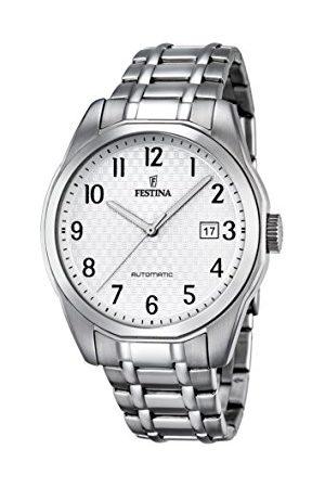Festina Męski automatyczny zegarek z białym wyświetlaczem analogowym i srebrną bransoletą ze stali nierdzewnej F16884/1