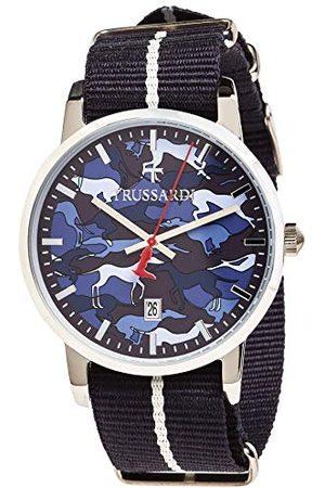 Trussardi Męski data klasyczny kwarcowy zegarek ze skórzanym paskiem R2451113005