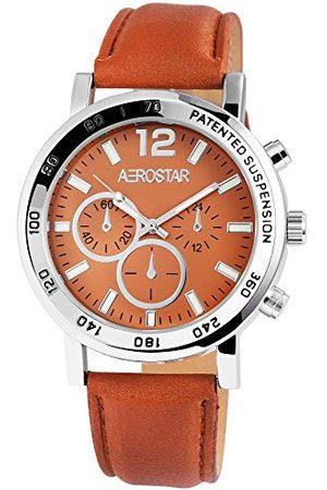 Aerostar Męski analogowy zegarek kwarcowy z imitacji skóry 21102750001