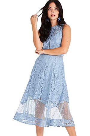 Little Mistress Damska Alexina niebieska koronkowa sukienka midi impreza