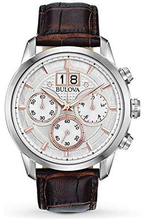 BULOVA Męski analogowy zegarek kwarcowy ze skórzanym paskiem 96B309