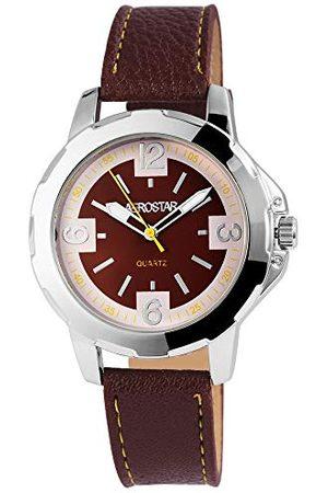 Aerostar Męski analogowy zegarek kwarcowy z imitacji skóry 21102700010