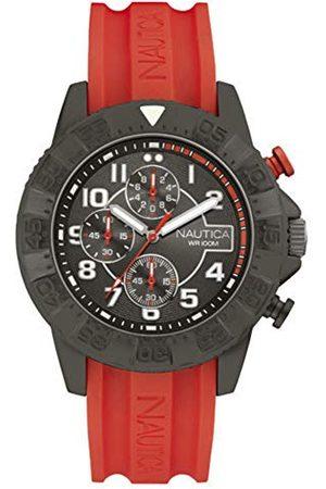 Nautica Męski analogowy zegarek kwarcowy z silikonowym paskiem NAI17514G