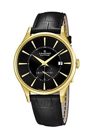 Candino Męski zegarek kwarcowy z czarnym wyświetlaczem analogowym i czarnym skórzanym paskiem C4559/4