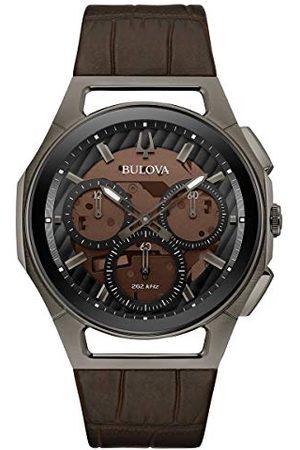 BULOVA Męski chronograf kwarcowy zegarek ze skórzanym paskiem 98A231