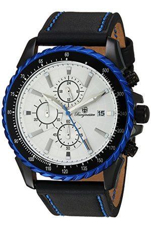 Burgmeister Męski zegarek kwarcowy z czarną tarczą analogową wyświetlaczem i czarną skórzana bransoletka BMT02-682