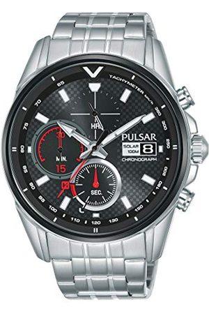 Seiko UK Limited - EU Seiko UK Limited - UE męski analogowy japoński kwarcowy pulsar słoneczny M sportowy chronograf zegarek ze stali nierdzewnej z paskiem ze stali nierdzewnej PZ6027X1