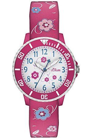 s.Oliver Dziewczynka Zegarki - Dziecięcy analogowy zegarek kwarcowy z silikonowym paskiem Einheitsgröße