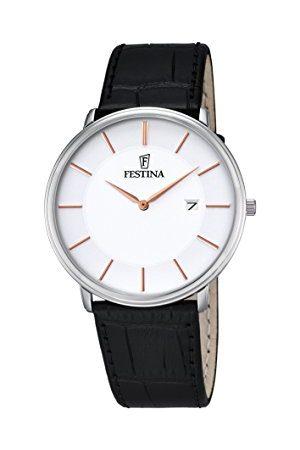 Festina CLASSIC męski zegarek kwarcowy z białym wyświetlaczem analogowym i czarnym skórzanym paskiem F6839/3