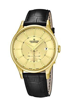 Candino Męski zegarek kwarcowy ze złotym wyświetlaczem analogowym i czarnym skórzanym paskiem C4559/2