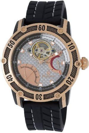 Burgmeister Męski automatyczny zegarek ze srebrnym wyświetlaczem analogowym i czarnym silikonowym paskiem BM213-312