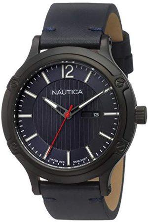 Nautica NAPPRH017 męski analogowy zegarek kwarcowy ze skórzanym paskiem