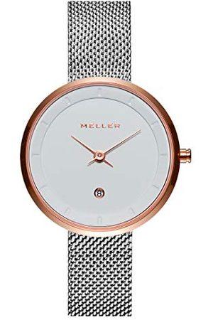 Meller Analogowy zegarek kwarcowy dla dorosłych z paskiem ze stali nierdzewnej W5NN-2BLACK