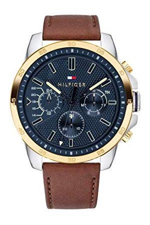 Tommy Hilfiger Męski wielofunkcyjny zegarek kwarcowy ze skórzanym paskiem 1791561