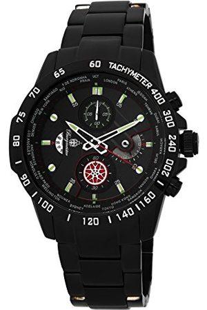 Burgmeister Męski zegarek kwarcowy z czarną tarczą chronografu i czarną bransoletą ze stali nierdzewnej BMS01-622